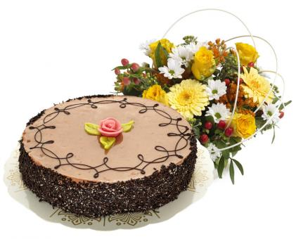 Send Flowers/Cake Chocolate Cake 8 pieces and Arrangement