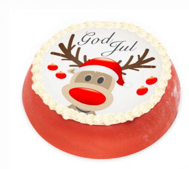 Red Christmas Cake with a reindeer Red Christmas Cake with a reindeer